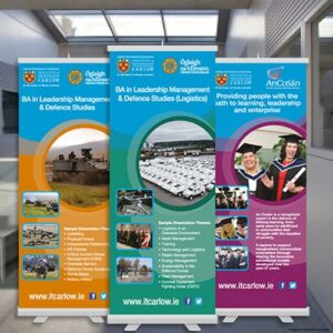 Classic Roll Up Stands or pull up banners stands are 800mm wide by 2000mm high.