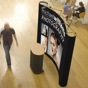 3x4 Pop Up Stands. Include pop up stand frame graphics, transport case, lights.