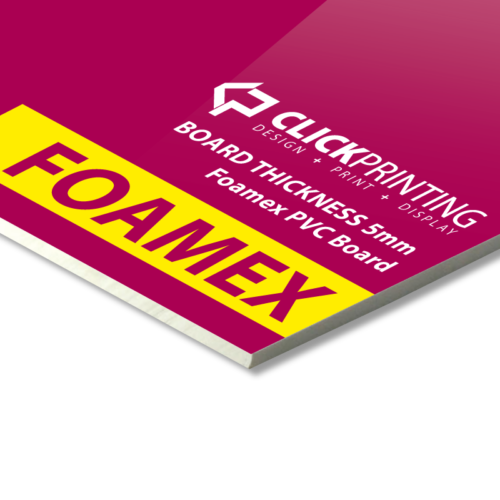 Foamex Signage PVC Board is mm thick and solid pvc. Can be directly printed on with accepts applied vinyls