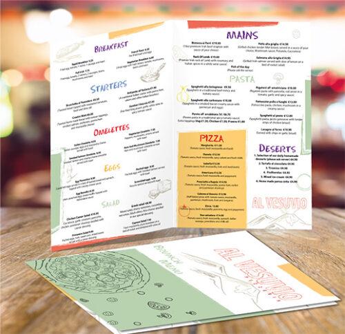 Restaurant Menu Printing | A4 Menu Design Printing Dublin | Kildare | Cork | Galway | Kerry
